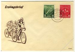 DDR 1956 FDC Mi-Nr. 521b-522 ESt. Internationale Radfernfahrt für den Frieden