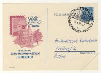 DDR Nr. PP005 D2/001b SSt. Bezirks-Briefmarken-Ausstellung Bitterfeld 1957