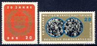 DDR 1965 Mi-Nr. 1115-1116 ** 20 Jahre Freier Deutscher Gewerkschaftsbund