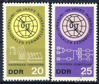 DDR 1965 Mi-Nr. 1113-1114 ** 100 Jahre Internationale Fernmeldeunion
