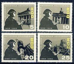 DDR 1966 Mi-Nr. 1161-1164 ** 10 Jahre Nationale Volksarmee (NVA)
