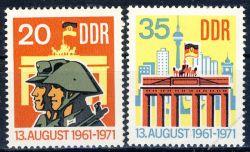 DDR 1971 Mi-Nr. 1691-1692 ** 10 Jahre Berliner Mauer