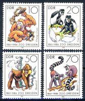 DDR 1986 Mi-Nr. 3019-3022 ** 125 Jahre Dresdner Zoo