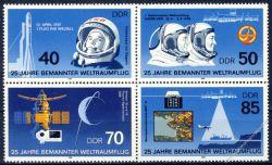DDR 1986 Mi-Nr. 3005-3008 (ZD) ** 25 Jahre bemannter Weltraumflug