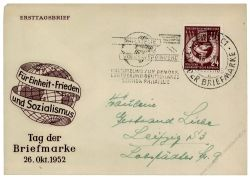 DDR 1952 FDC Mi-Nr. 319 SSt. Tag der Briefmarke