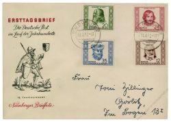 DDR 1952 FDC Mi-Nr. 311-314 ESt. Geburts- und Todestage berühmter Persönlichkeiten