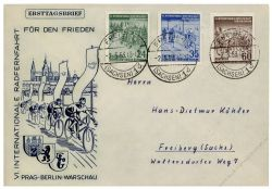 DDR 1953 FDC Mi-Nr. 355-357 ESt. Internationale Radfernfahrt für den Frieden