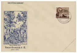 DDR 1953 FDC Mi-Nr. 384 ESt. 400. Todestag von Lucas Cranach d. Ä.