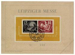 DDR 1950 FDC Mi-Nr. 271-272 (Block 7) SSt. Deutsche Briefmarkenausstellung DEBRIA