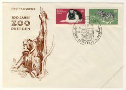 DDR 1961 FDC Mi-Nr. 825-826 SSt. 100 Jahre Dresdner Zoo